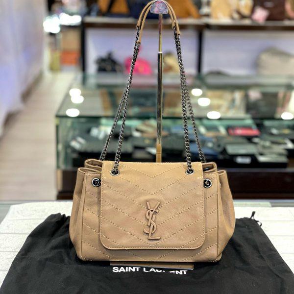 PRELOVED AUTHENTIC SAINT LAURENT BROWN LEATHER NOLITA SMALL BAG