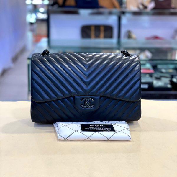Preloved Chanel Chevron Matelasse  So Black Lamskin Double Flap Jumbo