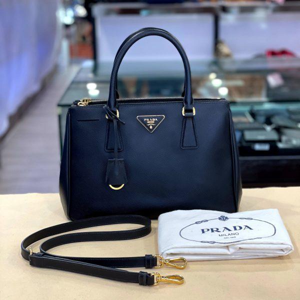 Preloved Prada Saffiano Leather Galleria Bag in Black